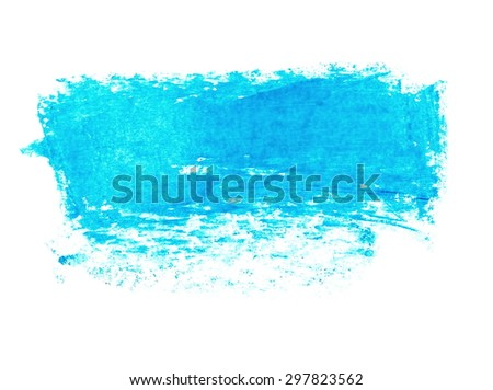photo grunge blue wax pastel crayon spot isolated on white background - stock photo