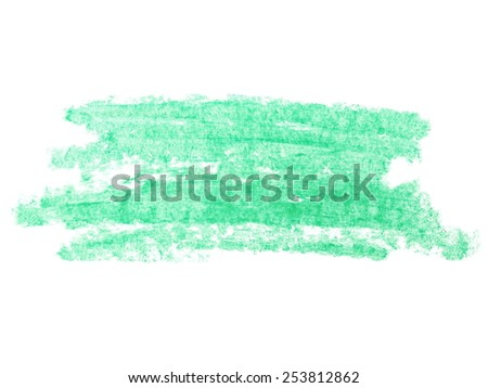 photo grunge green wax pastel crayon spot isolated on white background - stock photo