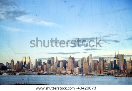 photo grunge new york cityscape skyline, usa - stock photo