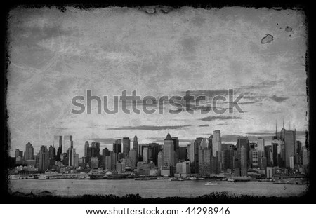 photo grunge new york cityscape skyline, usa