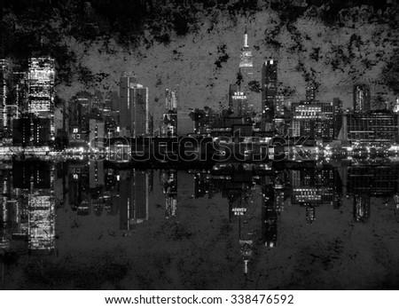 photo grunge of new york cityscape skyline at night, nyc, usa - stock photo