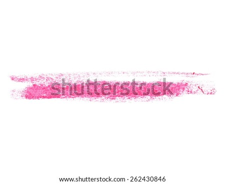 photo grunge red wax pastel crayon spot isolated on white background, with clipping path - stock photo