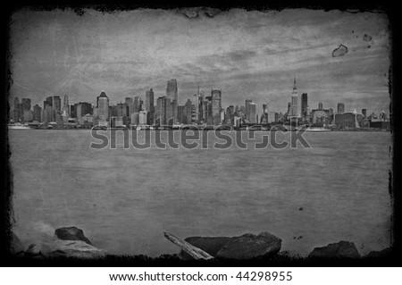 photo grunge texture capture of new york city, nyc, usa - stock photo
