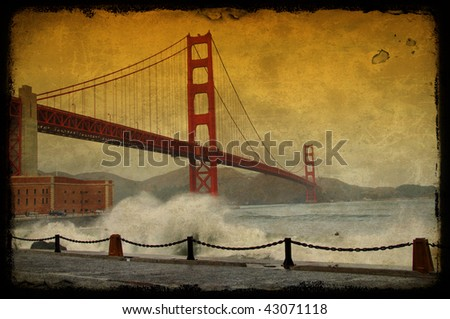photo grunge texture golden gate bridge, san francisco, ca, usa - stock photo