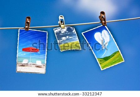 Photo hanging on a clothesline