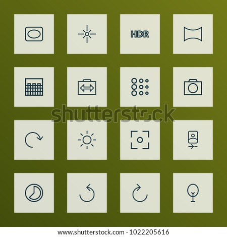 Photo icons line style set with circle, angle, frame and other brightness elements. Isolated  illustration photo icons.