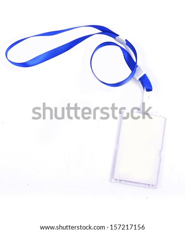 photo identity card on a blue lanyard - stock photo