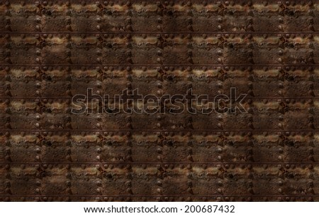 Photo illustration of a rusty metal riveted wall. - stock photo