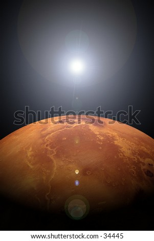 Photo illustration of a sunrise or sunset over Mars. Created on the computer.