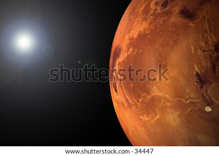 Photo illustration of Mars and the sun. Created on the computer.