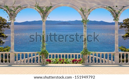 Photo illustration of terrace with colonnade overlooking the sea and mountains - stock photo