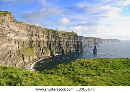 photo late evening sunset famous irish cliffs of moher - stock photo