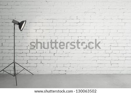 photo light and brick room - stock photo