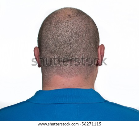 photo male head close up from behind - stock photo