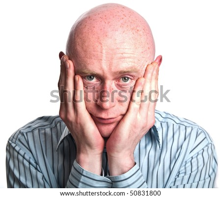 photo male with hand to face with worry - stock photo