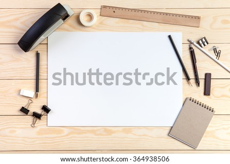 Photo. Mock-up for graphic designers, artist, presentations and portfolios. Space fot text, layout, artwork, the working process. - stock photo