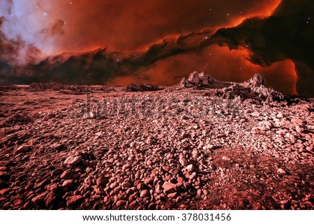 Photo-montage simulating an alien landscape and Eagle Nebula as background (Elements of this image furnished by NASA) - stock photo