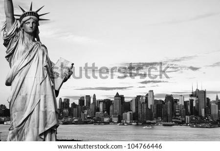 photo new york city black and white hi contrast - stock photo