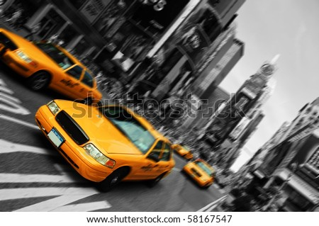 Photo New York City Taxi Cab Yellow in Times Square New York City in Black and white. Blurred out of focus motion, Times Square NYC America USA.
