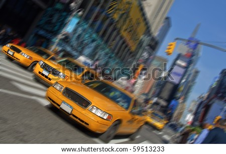 photo new york city times square, taxi motion blur - stock photo