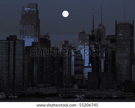photo new york cityscape in black and blue two toned. lovely nyc night shot new york city skyline cityscape with moon . epic new york city by nighttime.