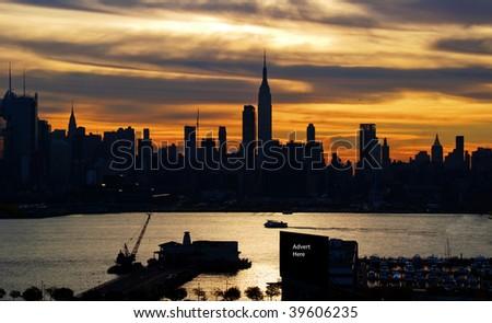 photo new york cityscape skyline silhouette, advert space - stock photo