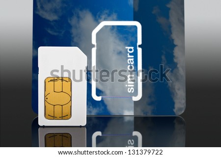 Photo of a a new Sim card from a mobile or cell phone close up - stock photo
