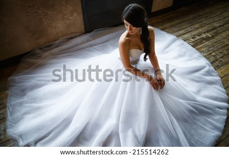 photo of a beautiful brunette bride in a luxurious wedding dress in elegant interior - stock photo