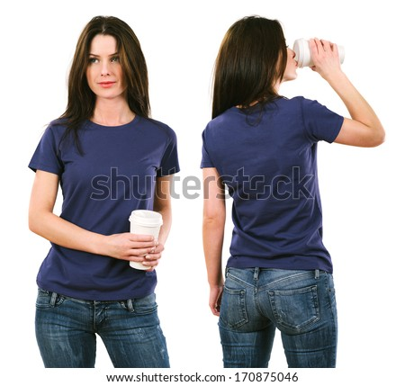 Photo of a beautiful brunette woman with blank purple shirt drinking a coffee.