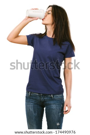 Photo of a beautiful brunette woman with blank purple shirt drinking a takeout coffee. Ready for your design or artwork.
