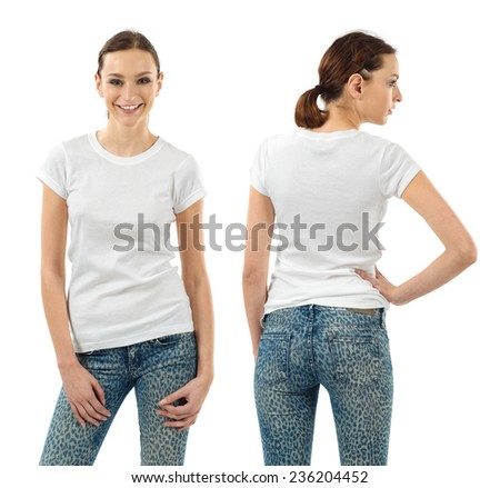 Photo of a beautiful brunette woman with blank white shirt. Ready for your design or artwork. - stock photo