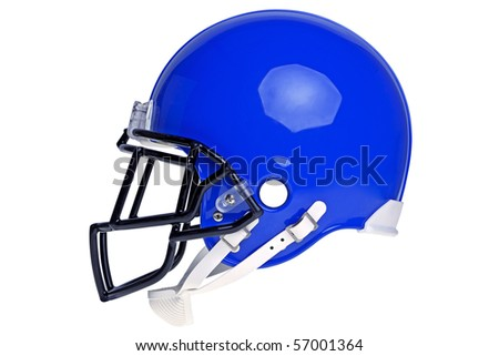 Photo of a blue American football helmet isolated on a white background with detailed clipping path. - stock photo