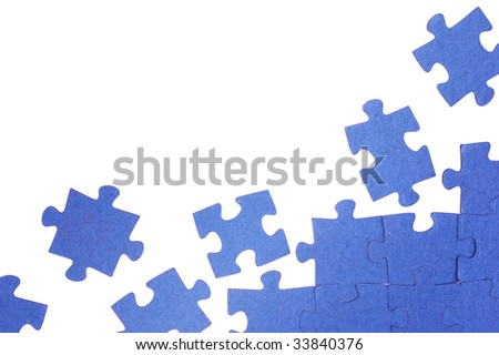 Photo of a blue puzzle - stock photo