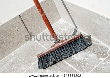 Photo of a broom ready for a sweep after balcony make-over - stock photo