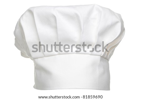 photo of a chefs hat called a toque blanche isolated on a white background
