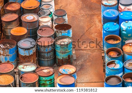 Photo of a Chemical waste dump with a lot of barrels - stock photo