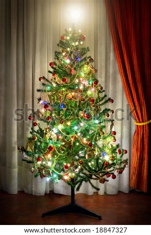 Photo of a Christmas tree in a room next to window curtains