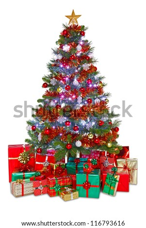 Photo of a decorated Christmas tree surrounded by gift wrapped presents, isolated on a white background.