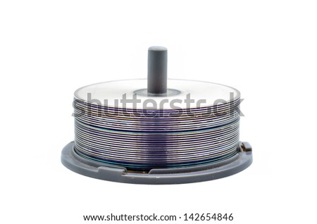 Photo Of a DVD Disks Pile Isolated Over White - stock photo