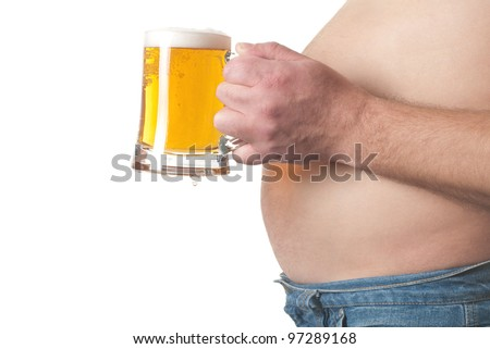photo of a fat man with a  beer in his hand - stock photo
