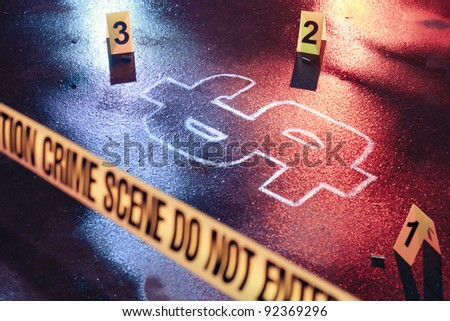 photo of a fresh crime scene with money as a victim - stock photo