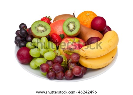 Photo of a fruit platter isolated on white. A clipping path is provided for easy extraction. - stock photo