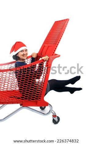 Photo of a funny Santa girl, studio photo - stock photo
