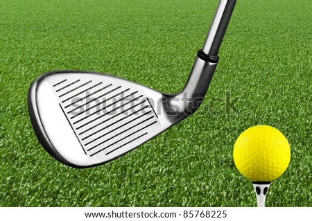 Photo of a golf iron club - stock photo