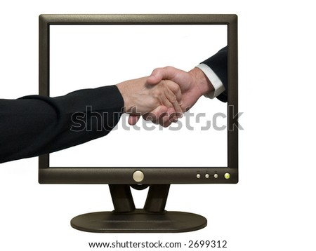 Photo of a guy and gal shaking hands via the Internet.