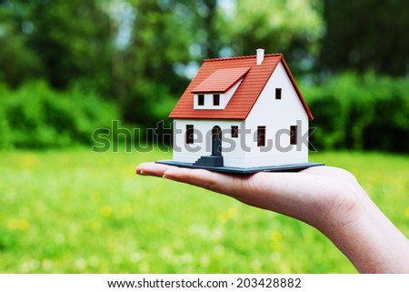 Photo of a house miniature against a green leafy background - stock photo