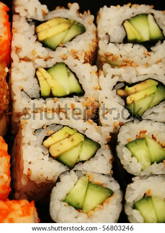 Photo of a Japanese vegetarian sushi roll close up - stock photo