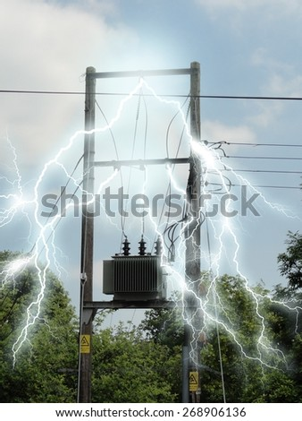 Photo of a junction box with electricity effects added - stock photo