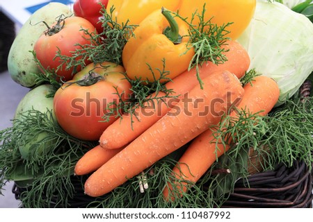 Photo of a large group of  vegetables in Thailand - stock photo