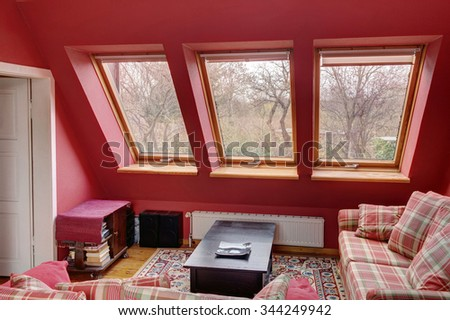 Photo of a living room with a nice view outside. - stock photo